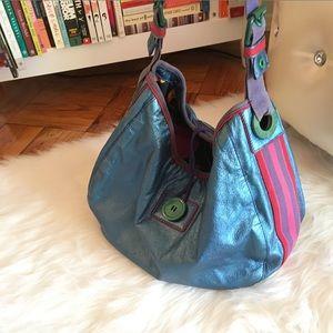 Marc Jacobs Metallic Blue Hobo Bag w Fabric Stripe